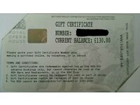 £130 Royal Opera House Gift Certificate