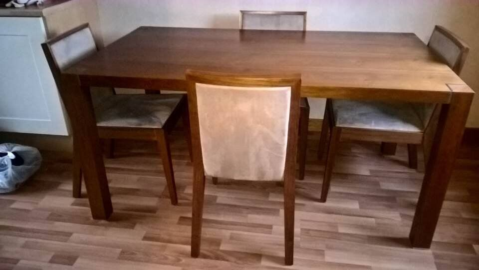 Walnut Dining Table and Four Chairs