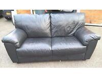 *INC LOCAL DELIVERY* Good Condition Black Leather 2 Seater Quality Sofa (dfs corner)