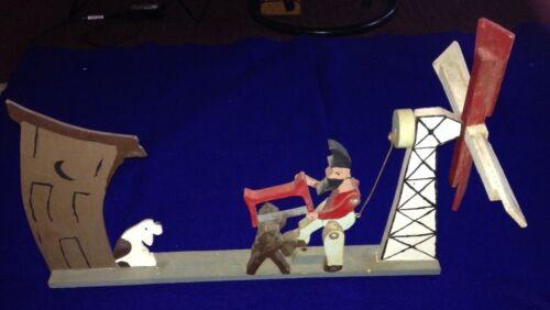 Vintage Antique Primitive Folk Art Whirligig Man Sawing Wood  Windmill Working