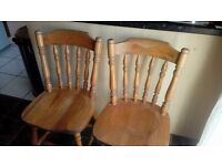 pair of pine farmhouse spindle back chairs - free delivery