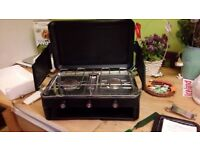 Two ring camping stove with grill