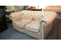 cream leather chesterfield sofas 150 each