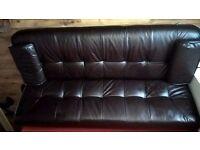 Black leather sofa/Double futon bed