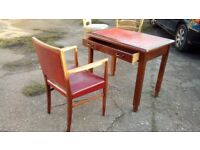 red leather top desk and chair - free delivery