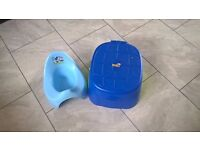 Blue stepstool potty with removable toilet seat and Mickey Mouse potty