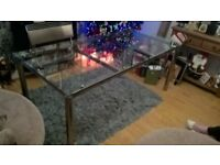 habitat glass dining table and lazy susan