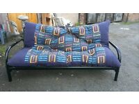 Metal framed sofa bed and mattress. Good condition.