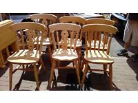 6 solid oak chairs - free delivery