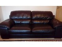 HARVEYS BROWN LEATHER 3 SEATER SOFA & MATCHING ARMCHAIR- FREE DELIVERY SOME AREAS-MUST GO ASAP -£295