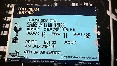TICKET : TOTTENHAM HOTSPURS - CLUB BRUGGE 02-11-2006 COUPE UEFA
