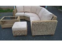 Five seater wicker corner unit in good condition, suitable for lounge or conservatory