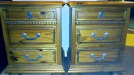 2 x Solid wood,canadian pine bedside cabinet/chest of draws