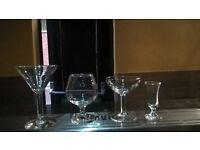 Martini Glasses, brandy glasses, margaritta glasses, liquor glasses.