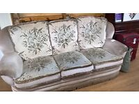 Patterned 3 seater sofa and armchair