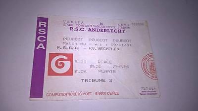 TICKET : RSC ANDERLECHT - KV MECHELEN 09-11-1991