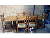 Large Heavy Oak Dining Table And Six Chairs