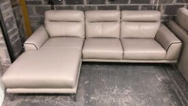 DFS grey leather chaise sofa