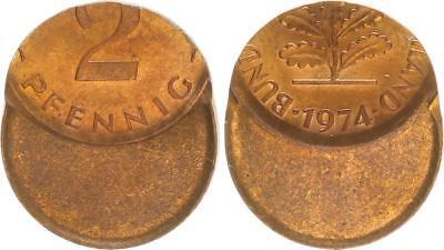 BRD 2 Pfennig 1974 Fehlprägung: 60% dezentriert aus Samml. Toni Barth prfr.- st