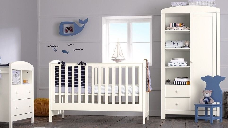 Mothercare Baby Nursery Set Padstow 3 Piece Furniture Wardrobe Cot Bed And