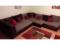 Corner Sofa with Swivel Chair + carpet , clock , canvas