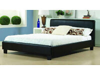 Brand New Ohio Black Faux Leather 4ft6 Double or 5ft Kingsize/King size with Memory Foam Mattress