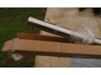 Galleria Curtain Pole - 2.4m long, 35mm diameter, brushed finish - brand new, still in box.