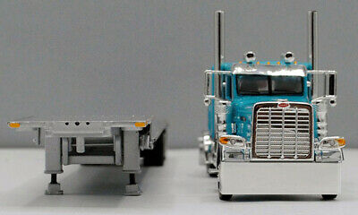 DCP 1/64 SCALE 389 PETERBILT FLAT, TURQUOISE WITH TRANSCRAFT STEPDECK TRAILER  2
