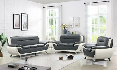 Faux Leather 3+2 Seater Sofa Set, Armchair, Black Grey White - CLEARANCE