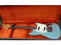 "Fender Mustang guitar 64-5 Daphne blue Pre CBS ""L"" plate 100% stock O/HSC. Not stratocaster strat"