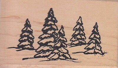 """snowy pines sutton enterprises Wood Mounted Rubber Stamp 2 x 3""""  Free Shipping"""