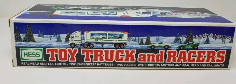 1997 Hess Toy Truck and Racers Lights Friction Motors -New In Box
