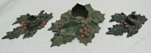 Vintage Cast Iron Holly Candle Holder 1921 LVL Matching Set of 3 1 large 2 small