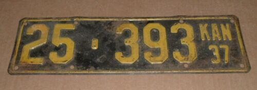 1937 Kansas License Plate KAN 25-393 Brown County Car Tag