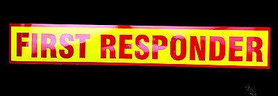 First Responder Red Fluorescen Magnetic Sign