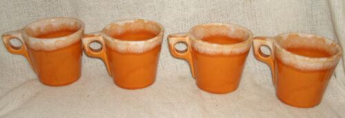 Vintage Four (4) Hull Oven Proof USA ~ Tangerine Drip Glaze ~ Mugs