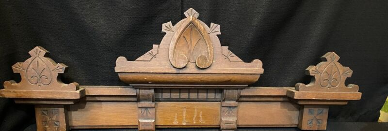 Wood carving pediment Antique french architectural salvage