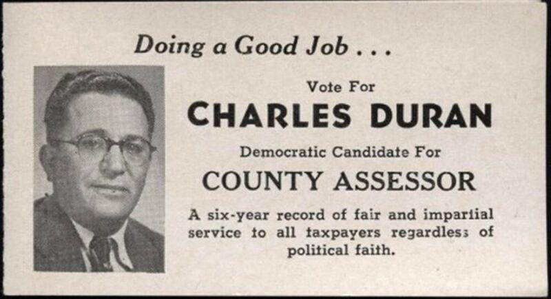 CHARLES DURAN HUERFANO COUNTY ASSESSOR 1952 COLORADO POLITICAL CARD LICENSE CODE