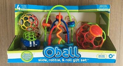 Oball Slide Rattle & Roll Gift Set Original Packaging Ball Car Rainstick Spiral