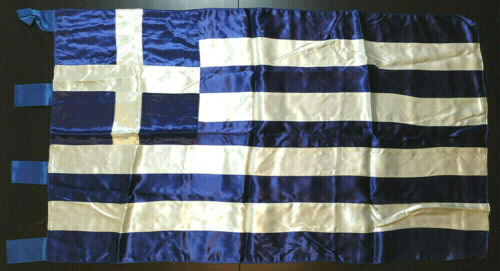 Greece Vintage Lustrous/Silky/Glossy Greek Flag 108x62.5cm