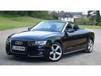 2009 AUDI A5 CONVERTIBLE TFSI 90K LOW MILEAGE BLACK CABRIOLET FULL SERVICE HPI CLEAR NOT 3 SERIES