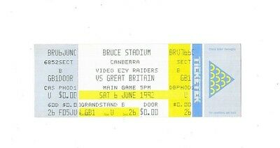 1992 - Canberra v Great Britain, Touring Match Ticket & Stub.