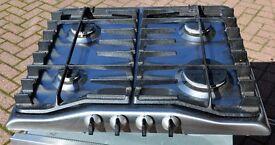 Zanussi stainless steel gas hob.