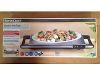 Portable brushed steel electric hot tray / hotplate / tabletop hostess plate / food heater