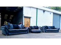 4+4+2 Large DFS grey/black fabric set DELIVERY AVAILABLE