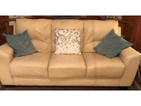 Cream leather 3 seater sofa good condition £80