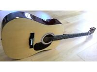 Electro - Acoustic Dreadnought Starfire Guitar Full Size 4/4 New Strings