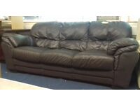 Dark Brown Leather 3 Seater Sofa - Good Condition £35