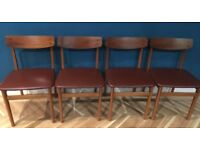 Lovely Mid Century Set of Four Dining Chairs - Teak frame with Brown / Burgundy Leather Seats