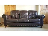 High quality leather Brown 3 seater sofa and 2 chairs